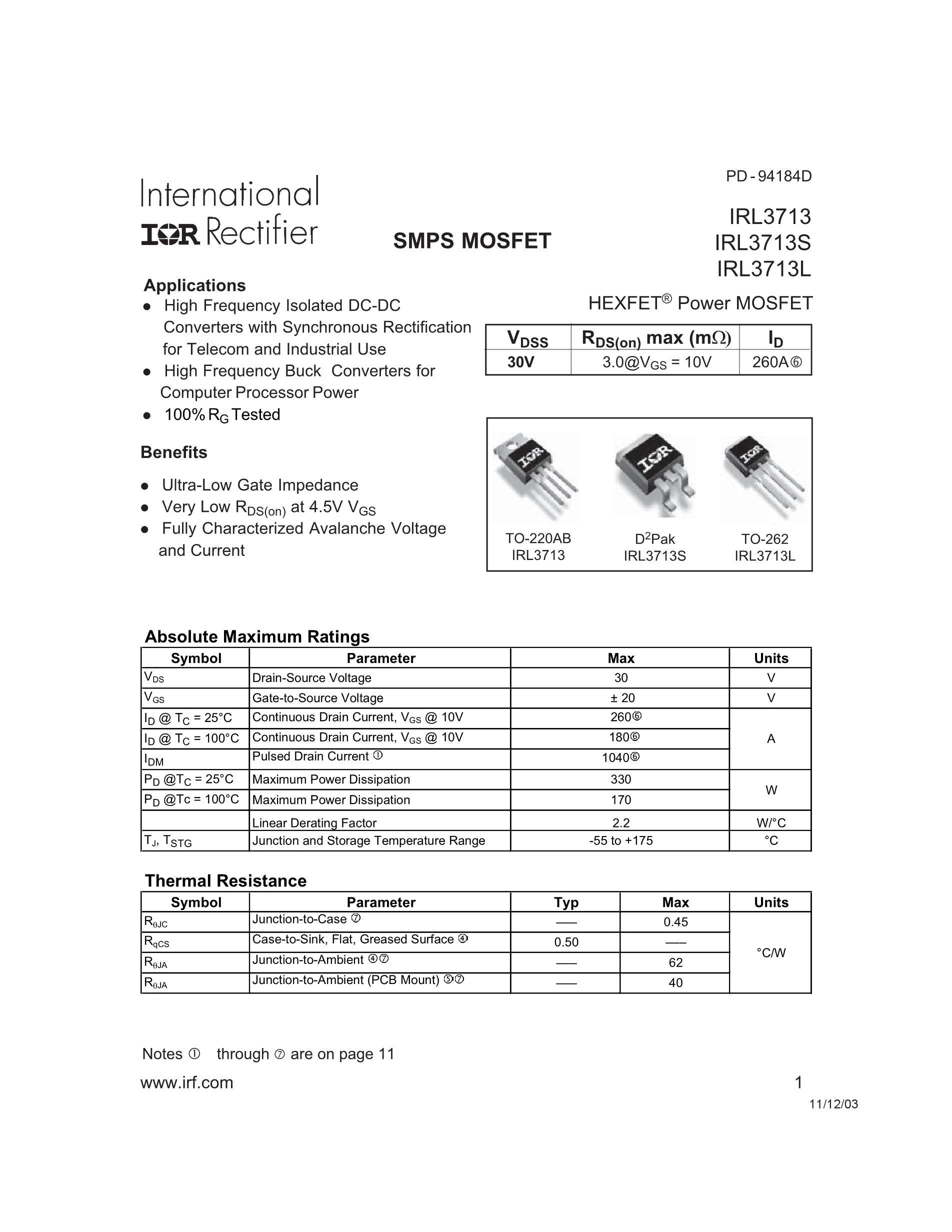 IRL3103STRR's pdf picture 1