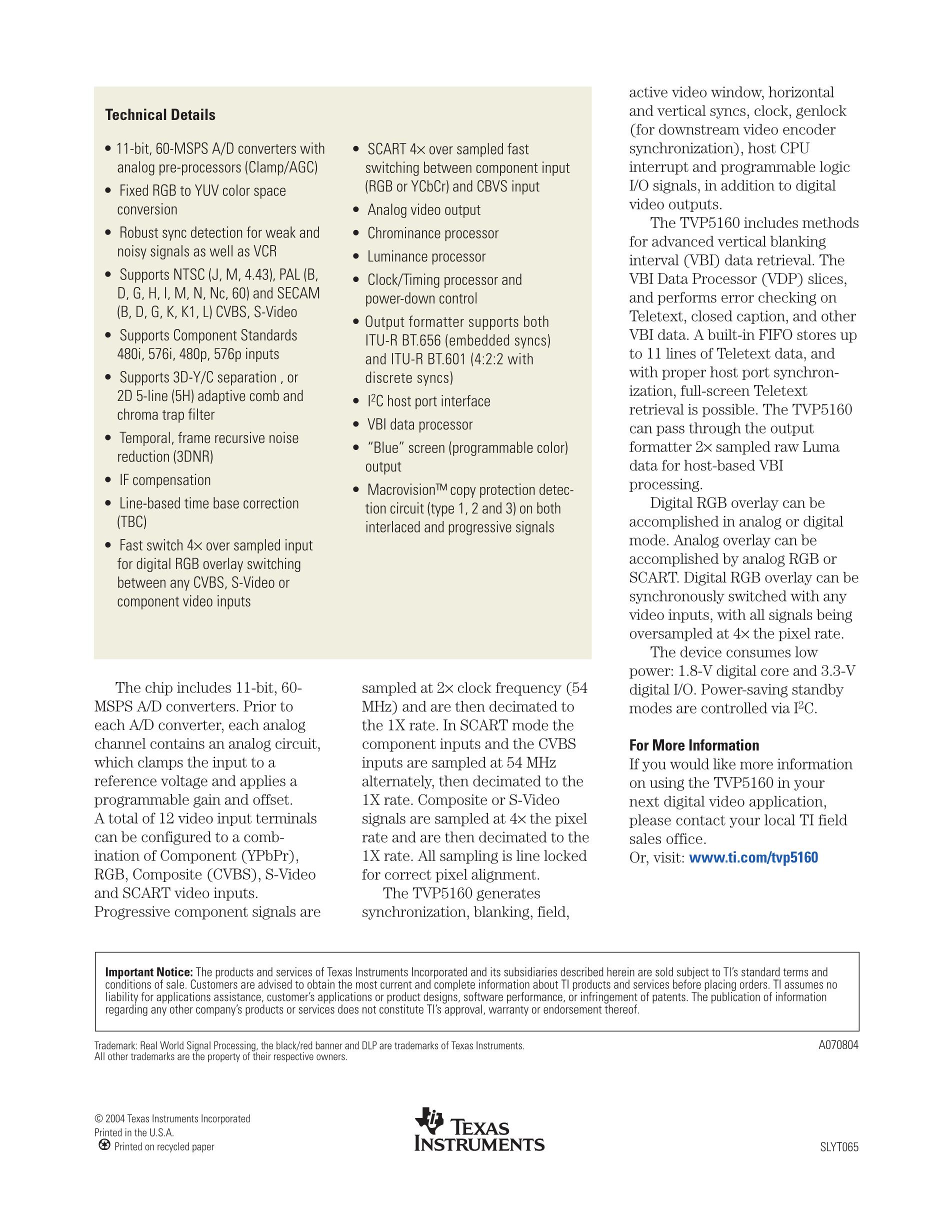 TVP5151PBSR's pdf picture 2