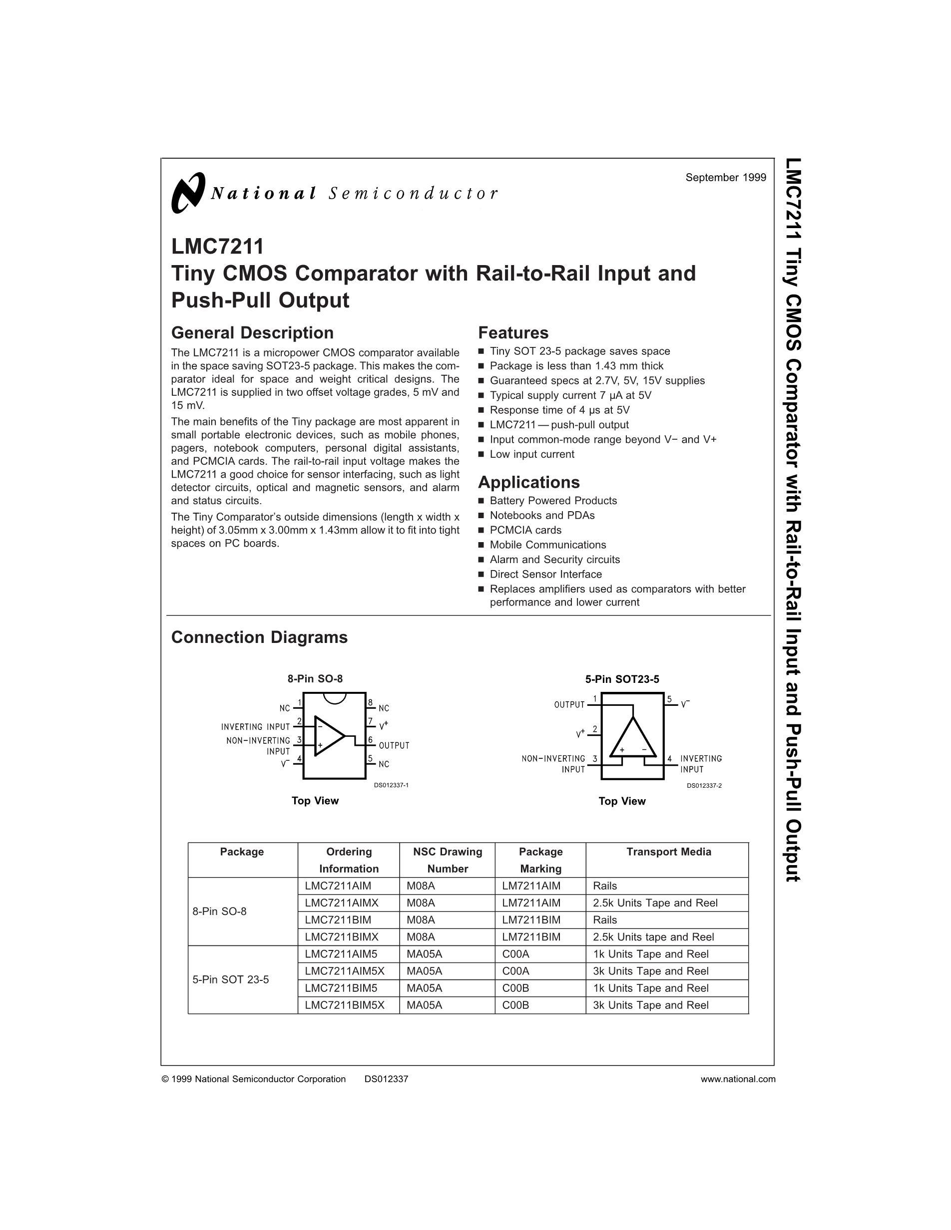 LMC7221BIMX/NOPB's pdf picture 1