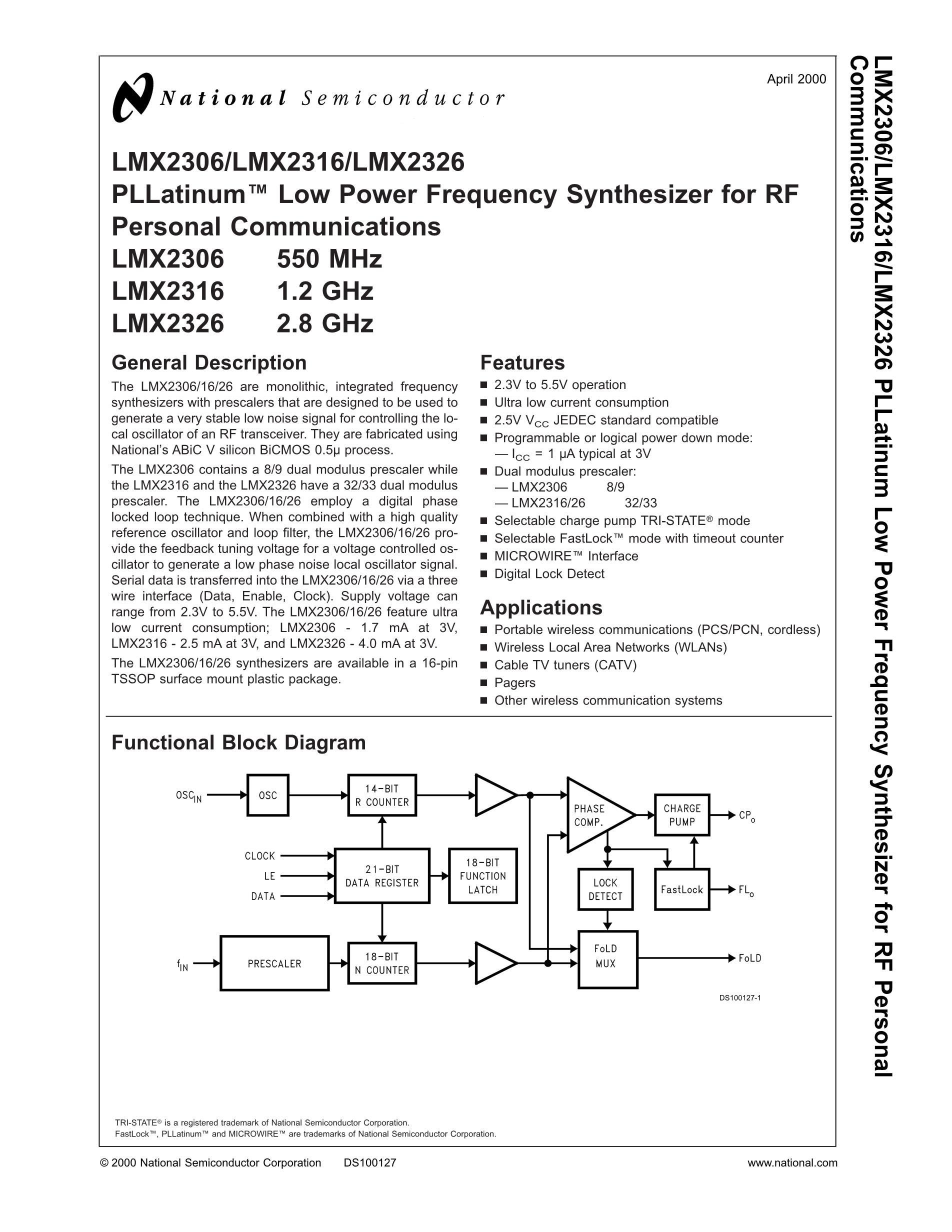 LMX2352TMX/NOPB's pdf picture 1