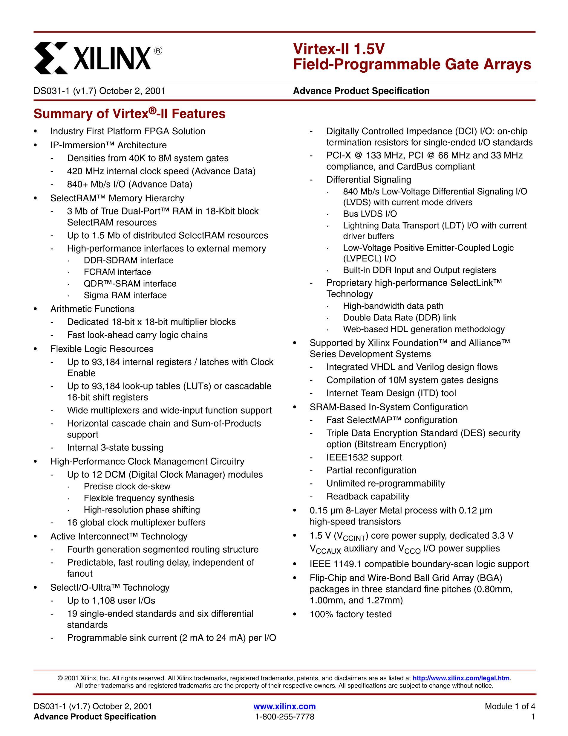 XC2V3000-5FFG1152C's pdf picture 1