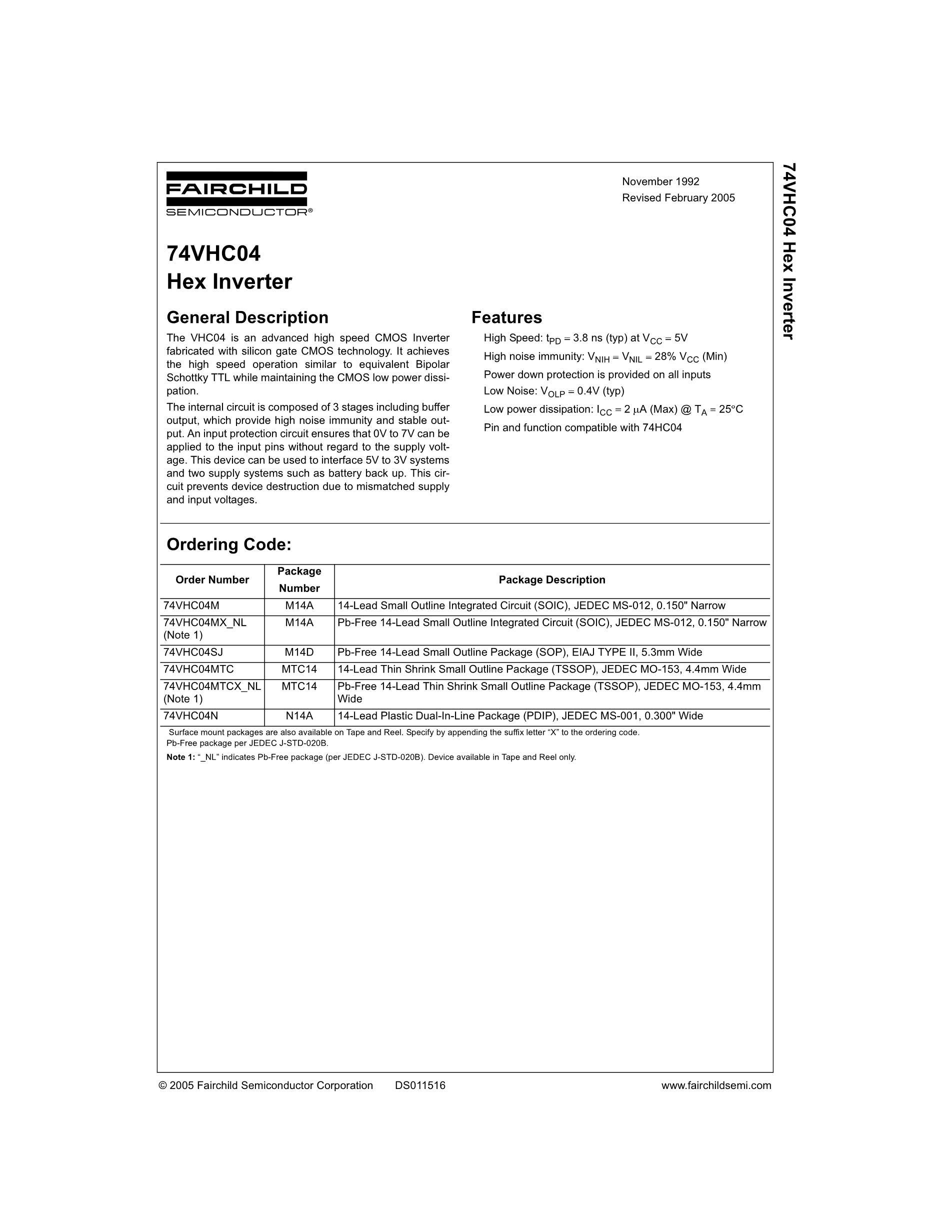 74VHC595MTC's pdf picture 1