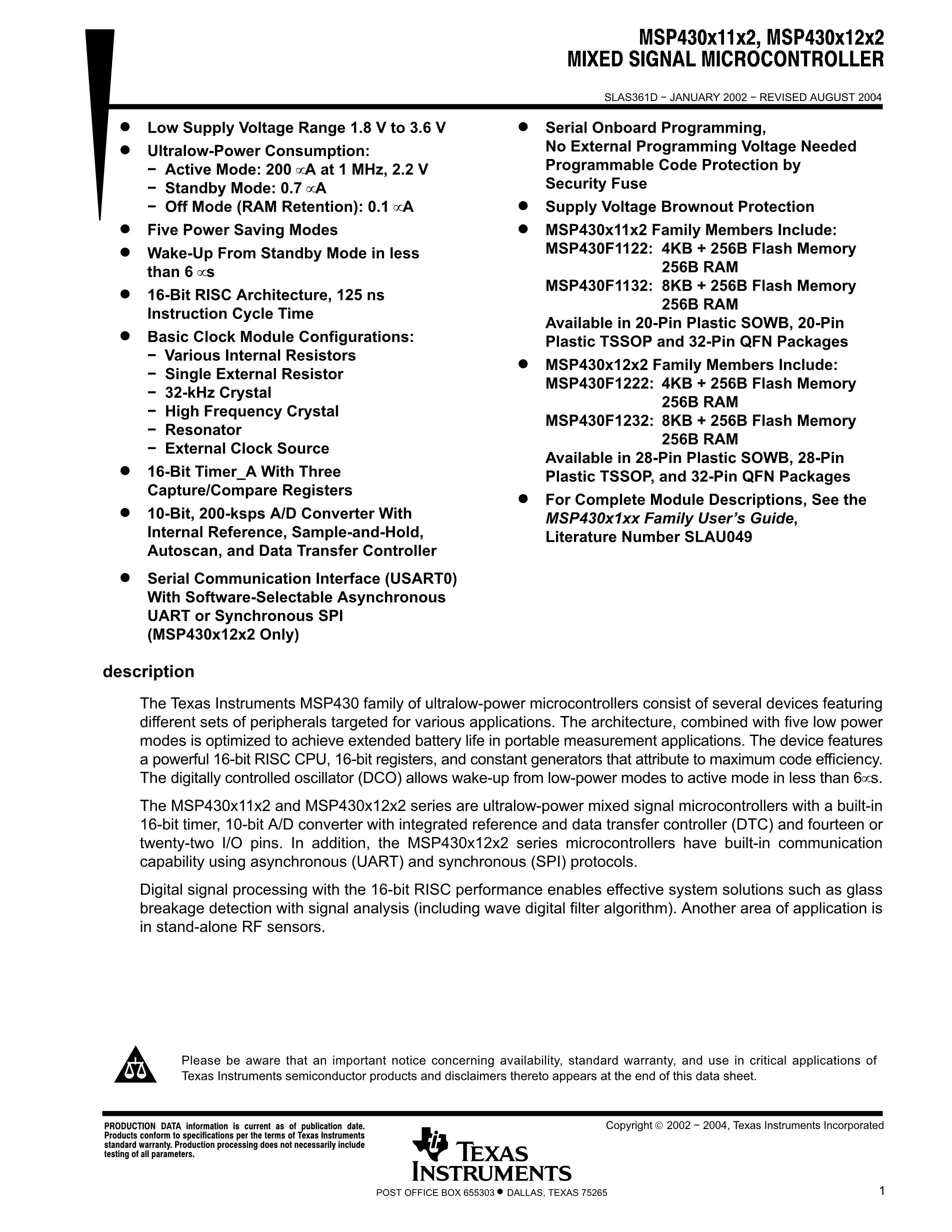 MSP430F1232I's pdf picture 1