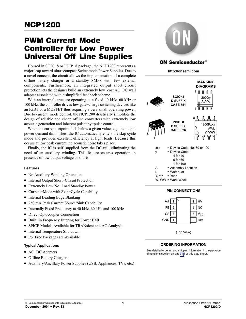 NCP1200P60's pdf picture 1