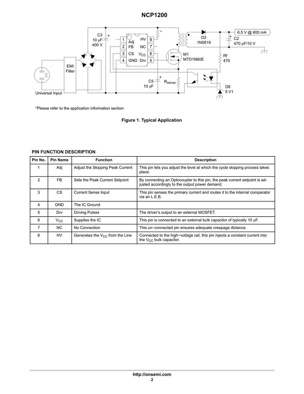 NCP1200P60's pdf picture 2