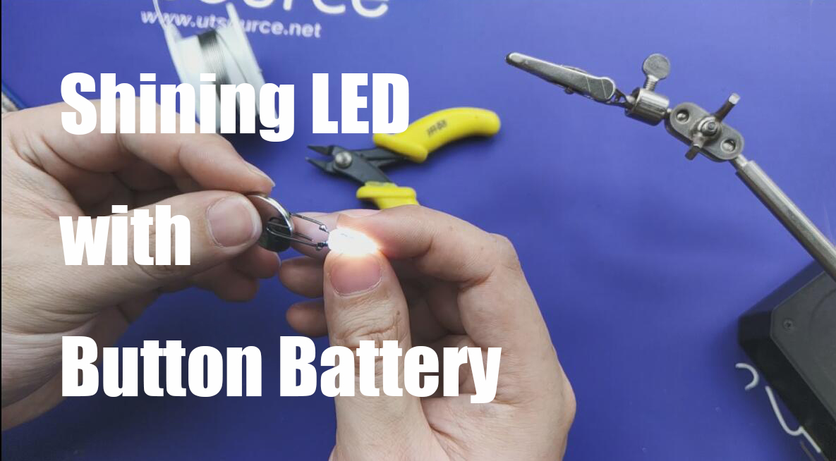 Shining LED with a Button Battery.