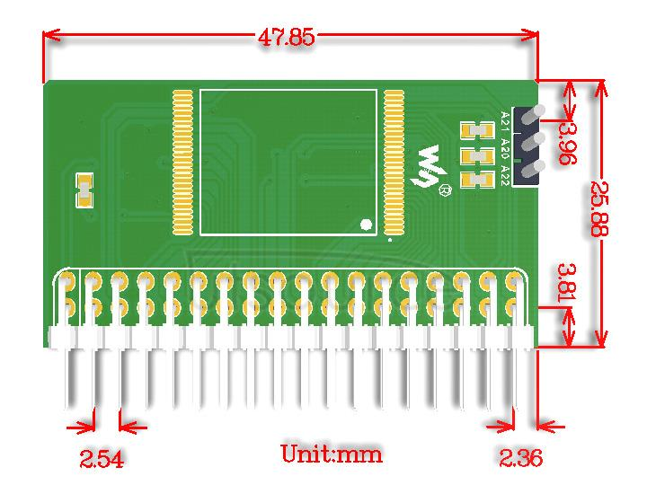 NorFlash Board (B) dimensions