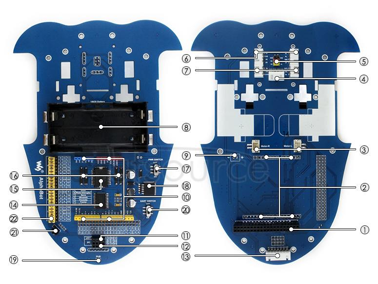 Raspberry Arduino Robot AlphaBot on board resource