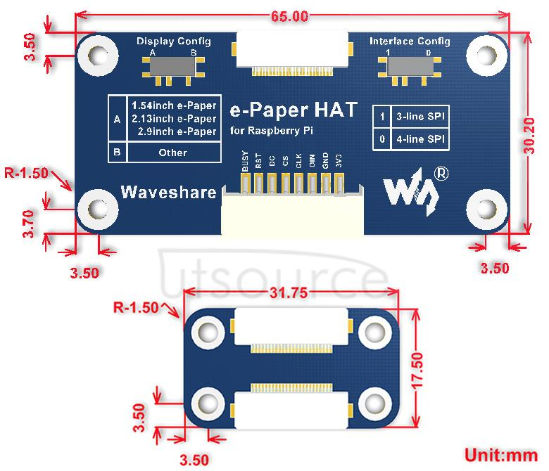 2.9inch e-Paper HAT (D) dimensions