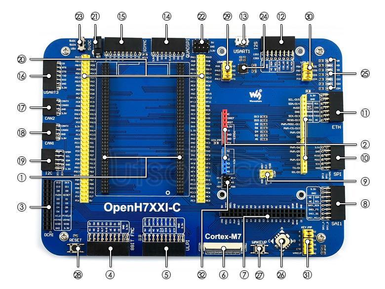 STM32H743IIT6 development board on board resource
