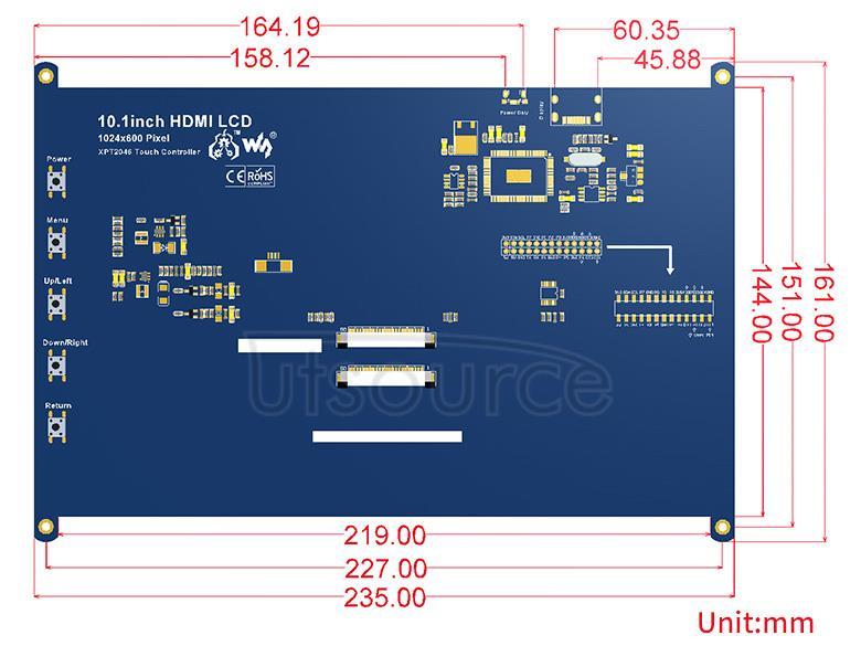 10.1inch-HDMI-LCD-dimension