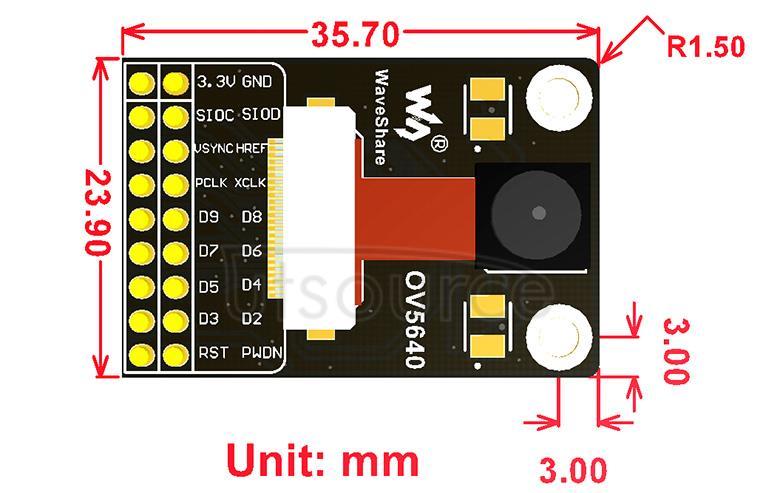 OV5640 Camera Board (A) dimensions