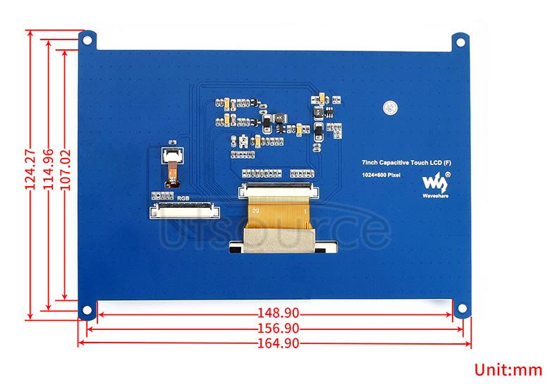7inch Resistive Touch LCD external dimension