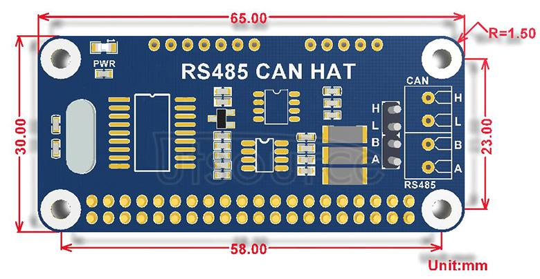 RS485 CAN HAT dimensions