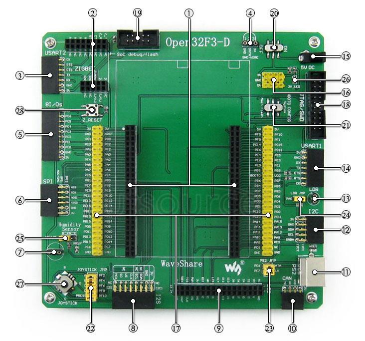 STM32F303VCT6 development board on board resource