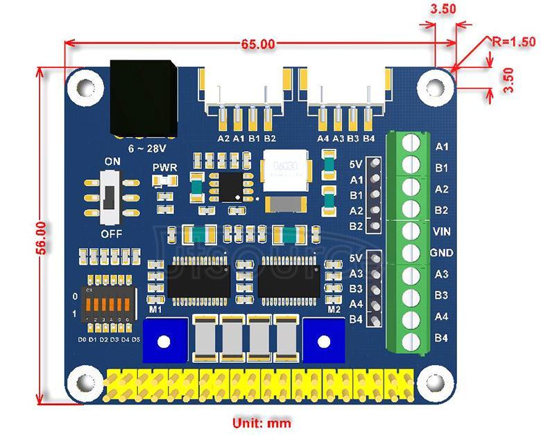 Stepper Motor HAT dimensions