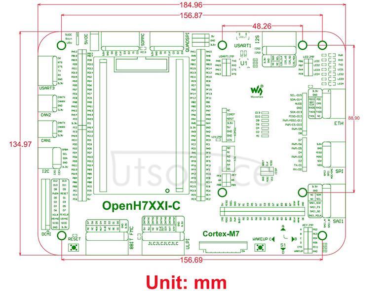 STM32 development board dimensions