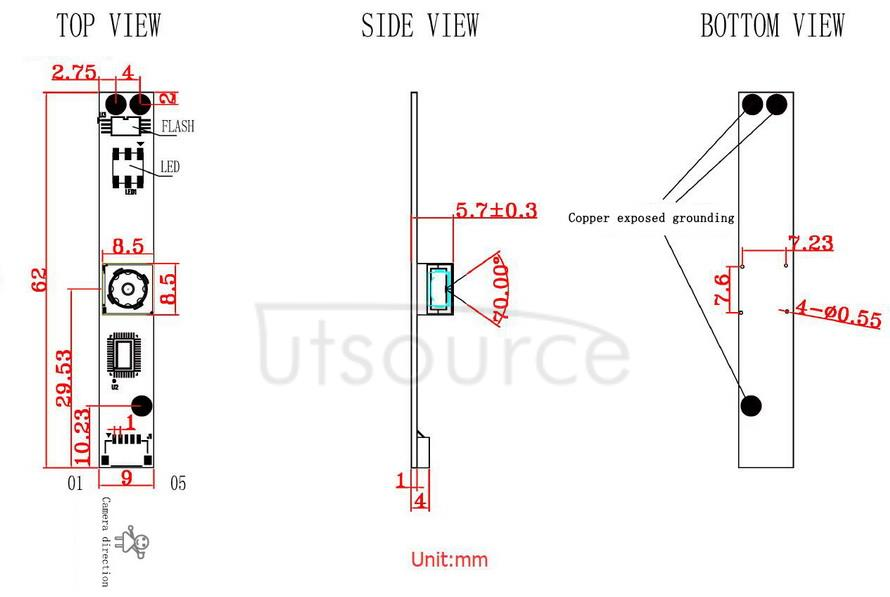 OV5648 5MP USB Camera (A) dimensions