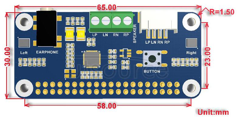 WM8960 Audio HAT dimensions