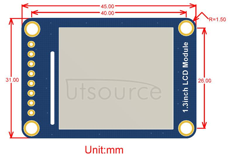 1.3inch LCD Module dimensions