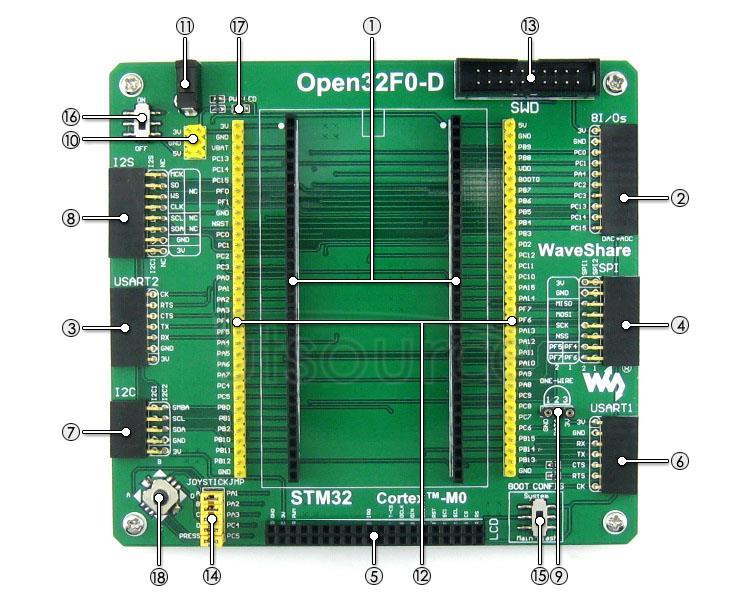 STM32F051R8T6 development board on board resource