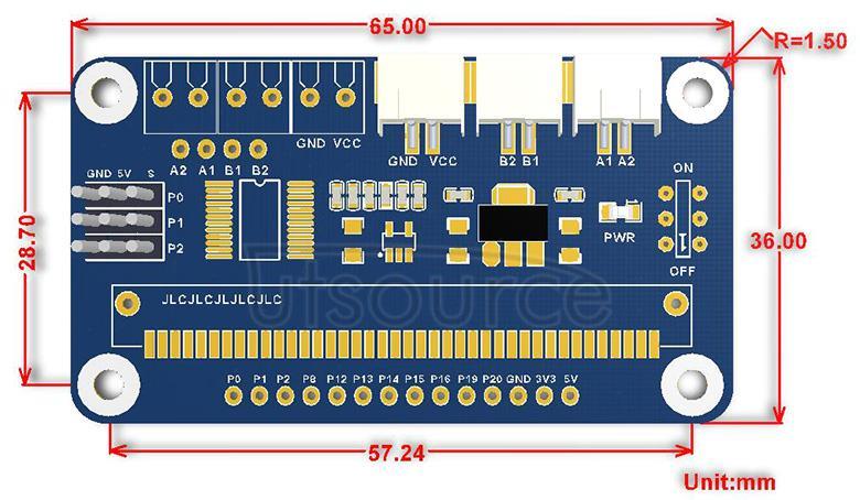 Motor Driver for micro:bit dimensions
