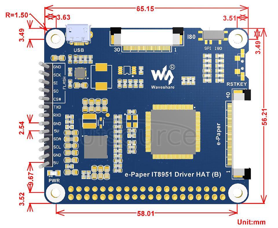 6inch HD e-Paper HAT e-Paper IT8951 Driver HAT (B) dimensions