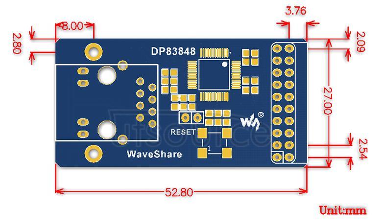 DP83848-Ethernet-Board dimensions