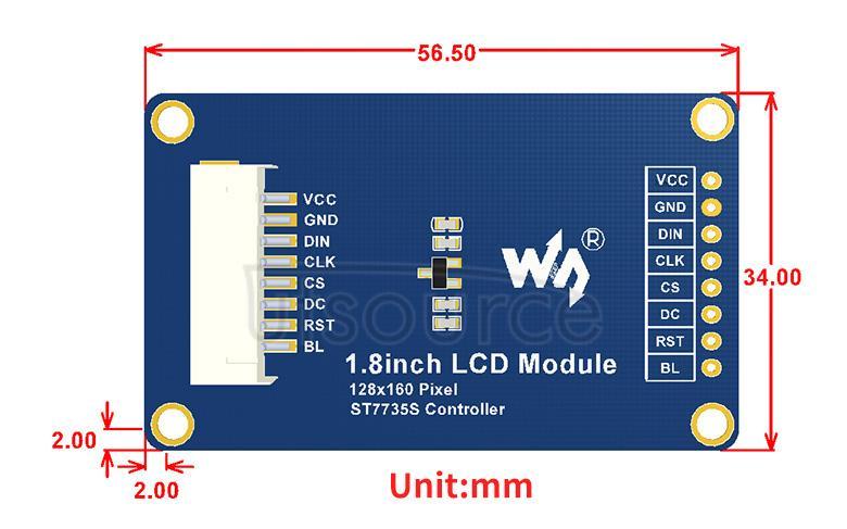 1.8inch LCD Module dimensions