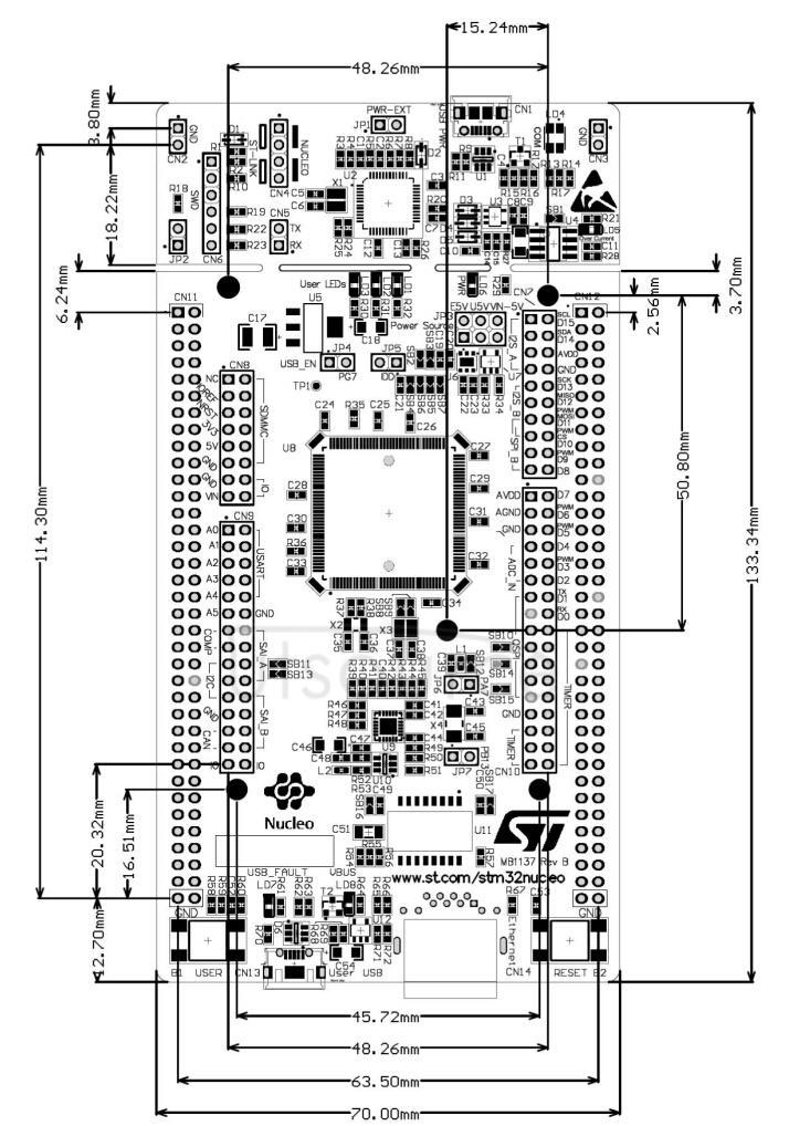 NUCLEO-F446ZE board dimensions
