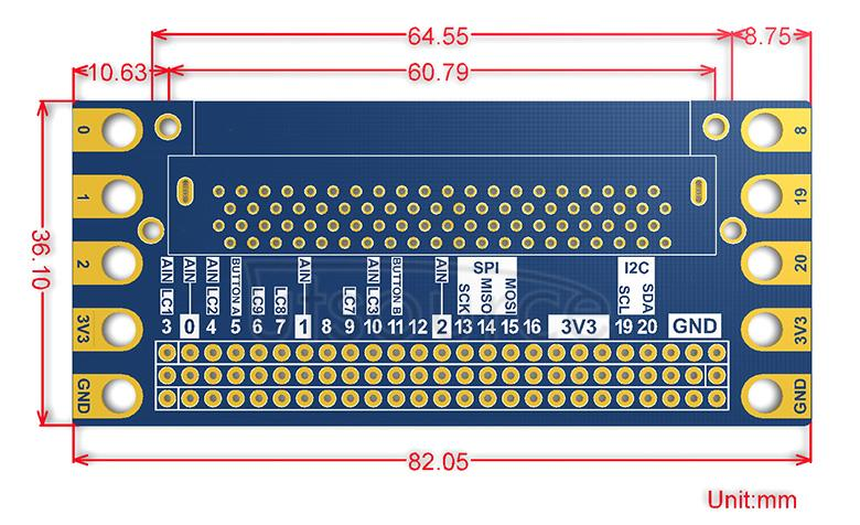 Edge Breakout for micro:bit dimensions