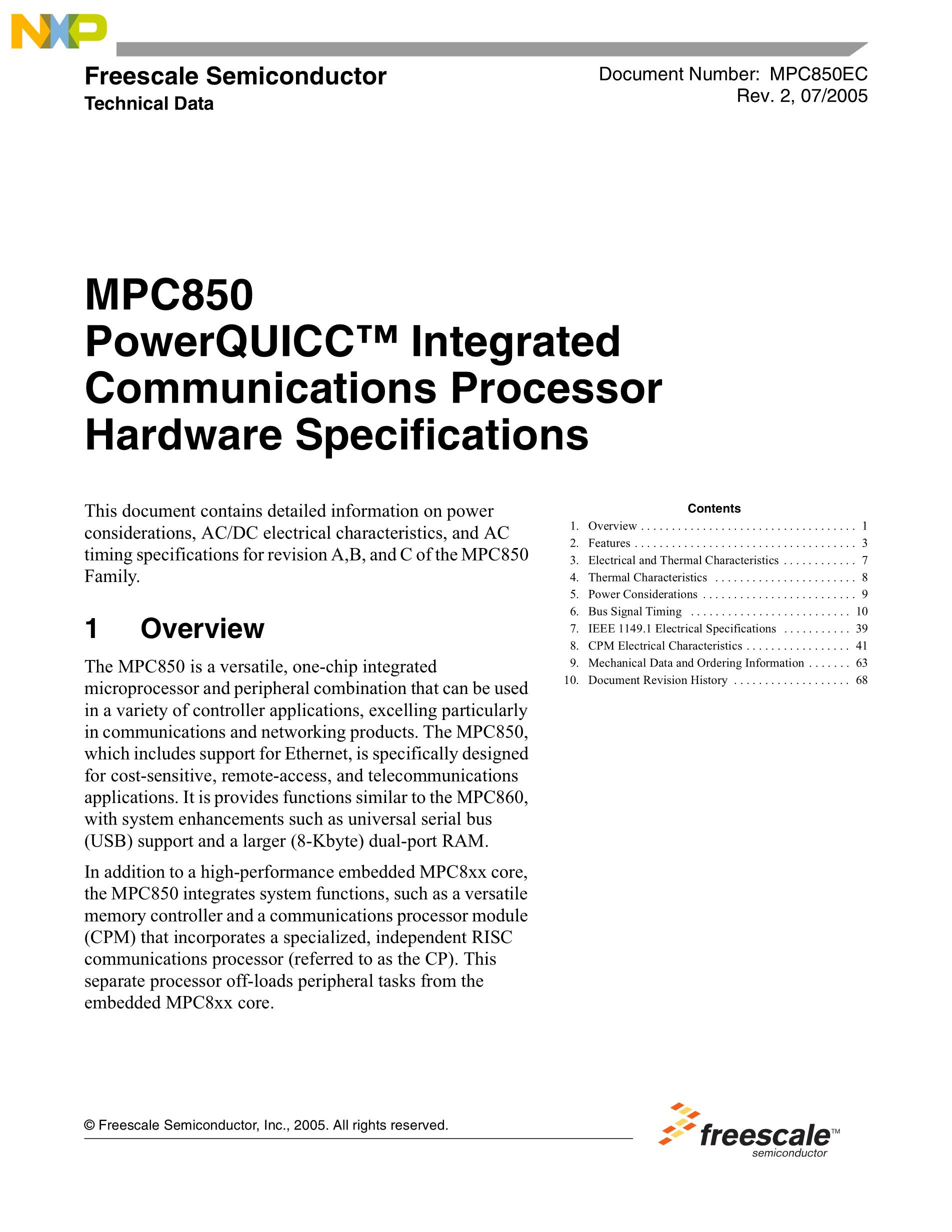 KMPC860DECZQ50D4's pdf picture 1
