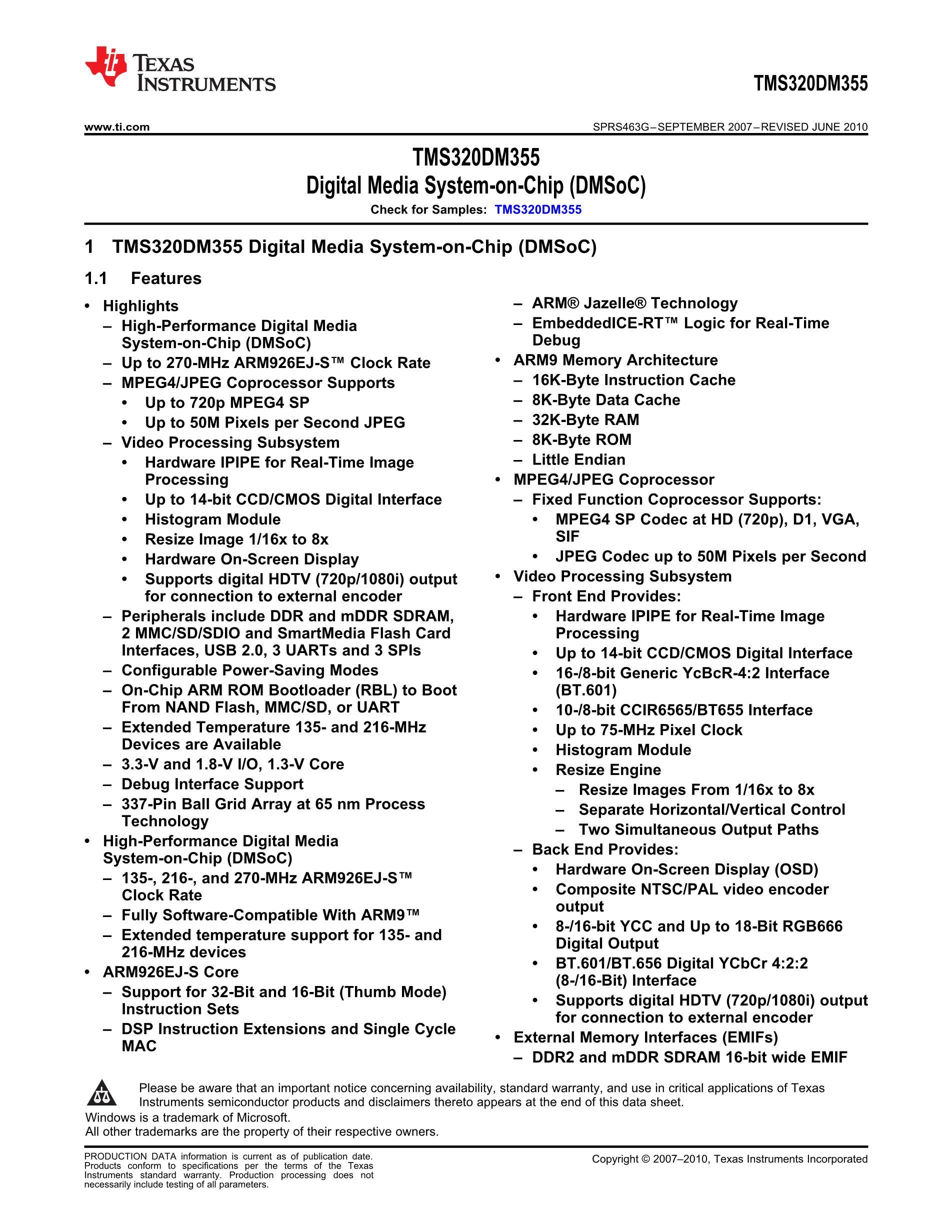 DM355SDZCE135's pdf picture 1