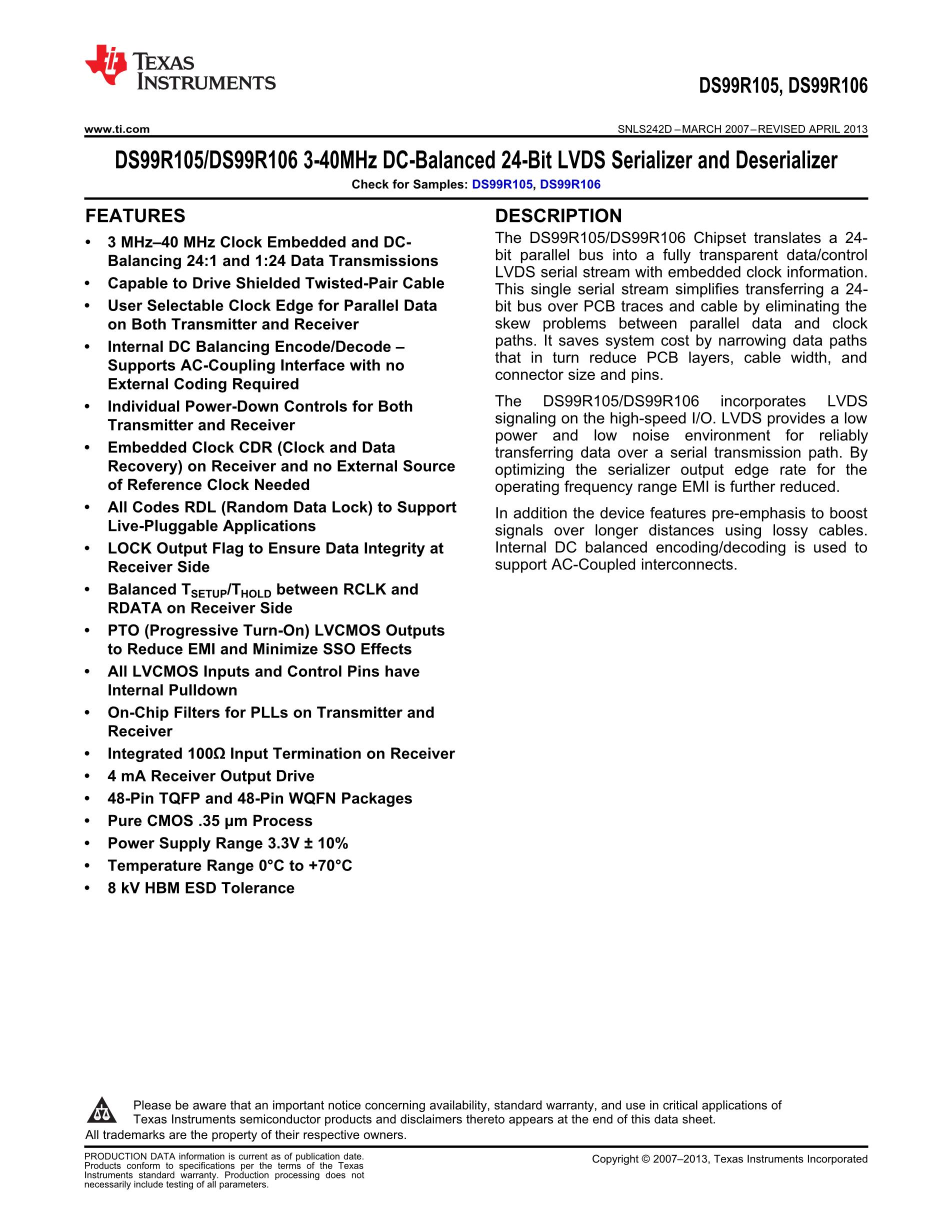 DS99R103TSQ/NOPB's pdf picture 1