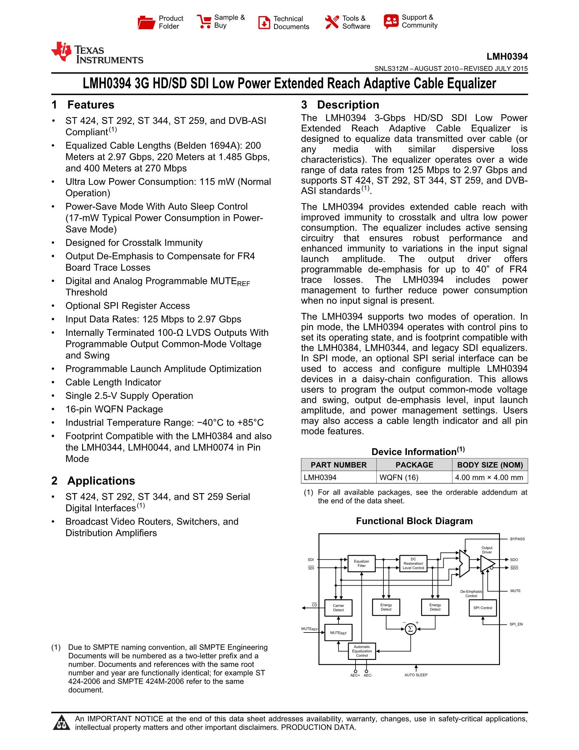 LMH0341SQ/NOPB's pdf picture 1