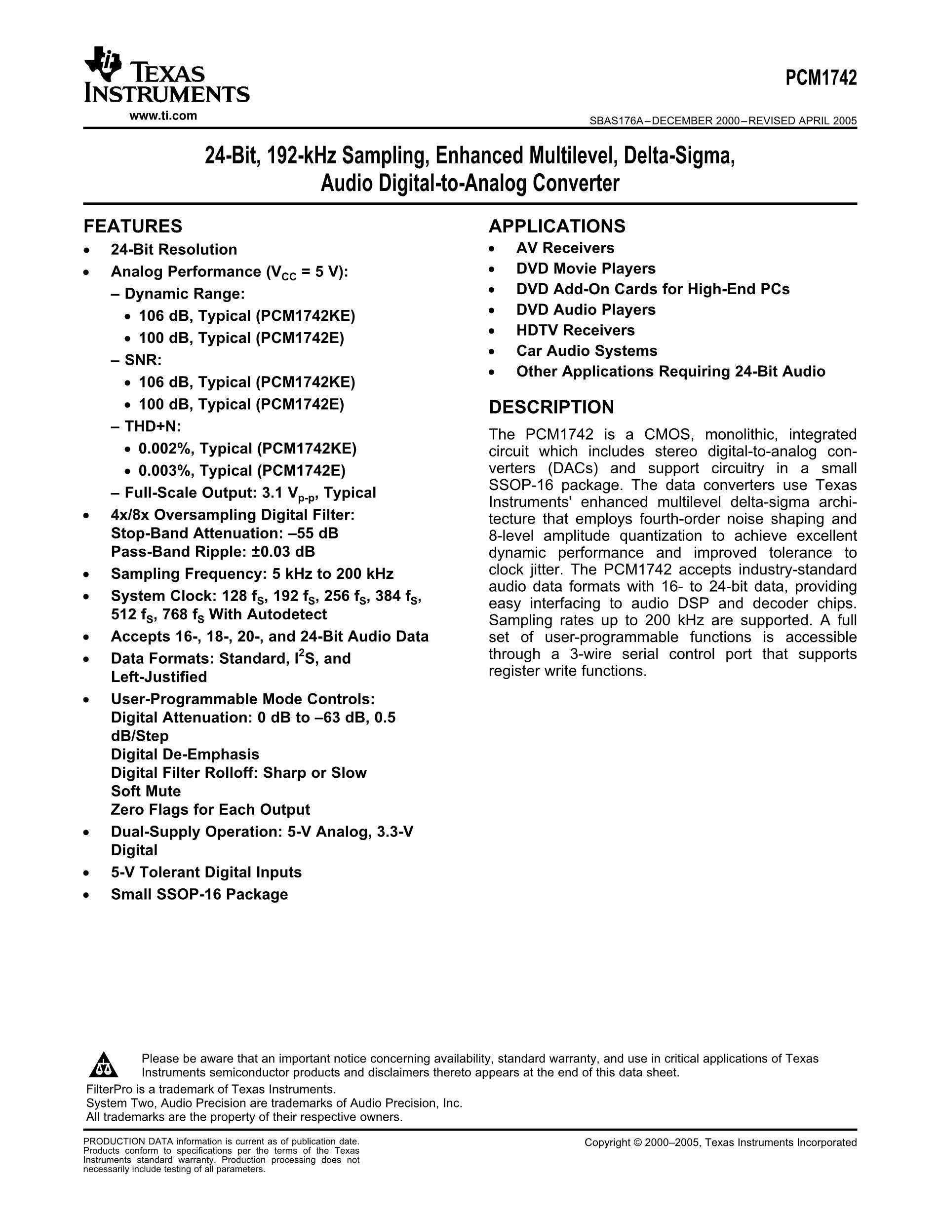 PCM1803ADBRG4's pdf picture 1