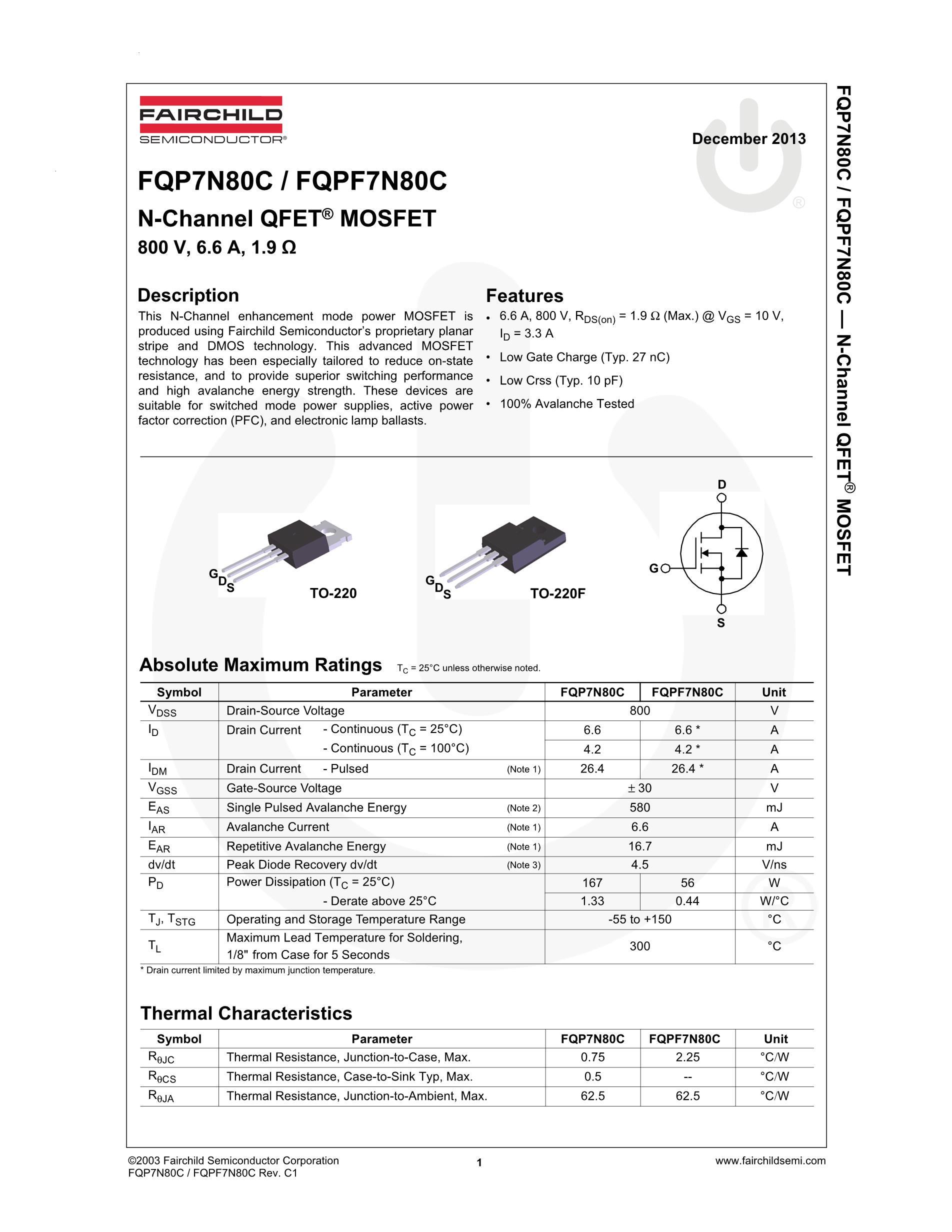 FQP7N80C's pdf picture 2