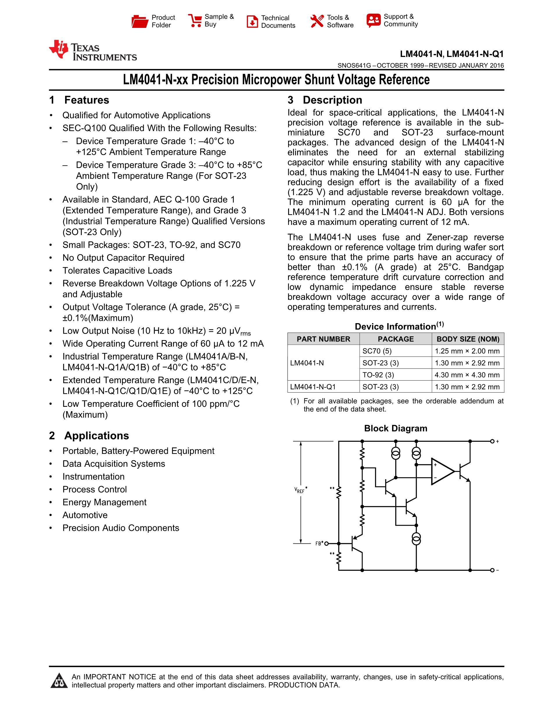 LM4041CQDBZTG4's pdf picture 1