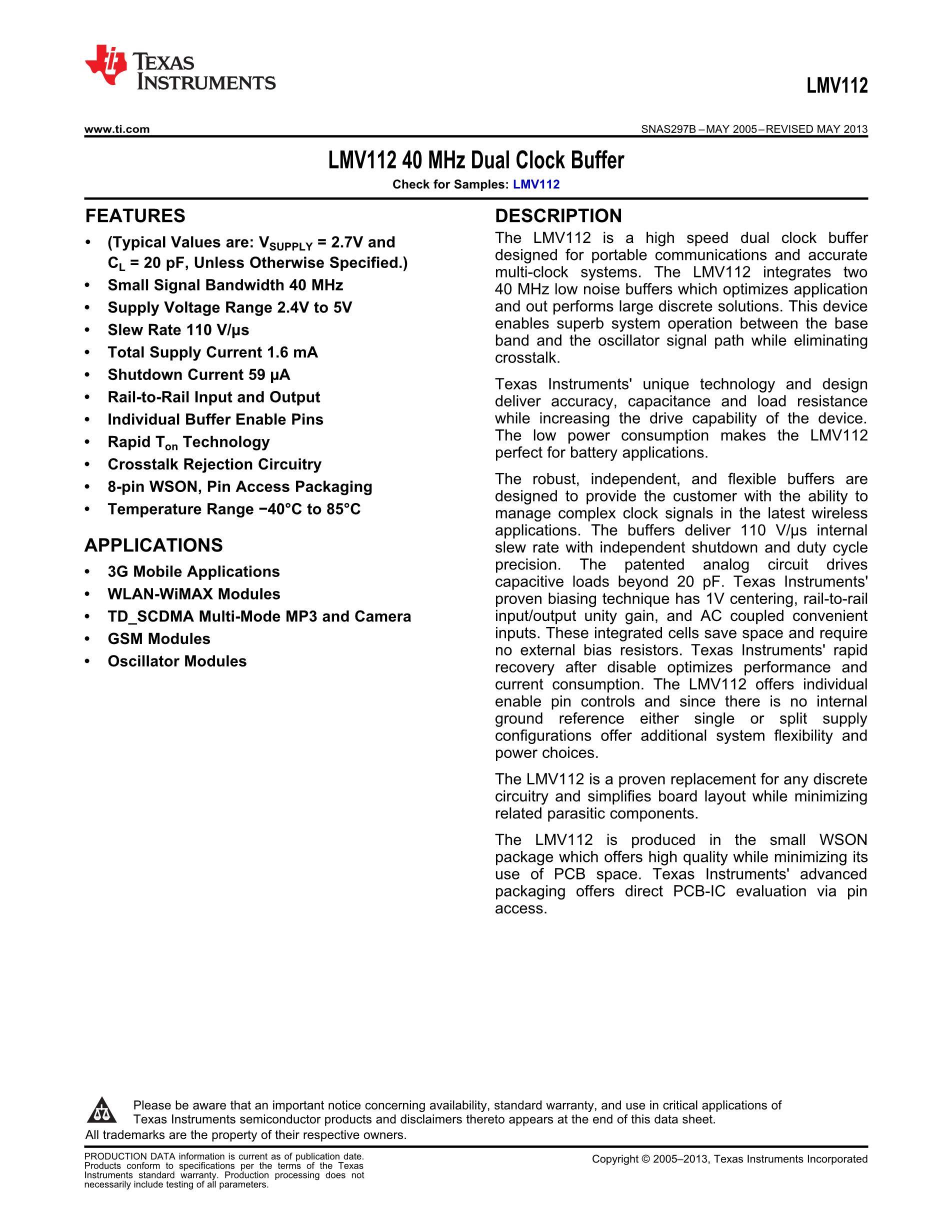 LMV1012XP-15/NOPB's pdf picture 1