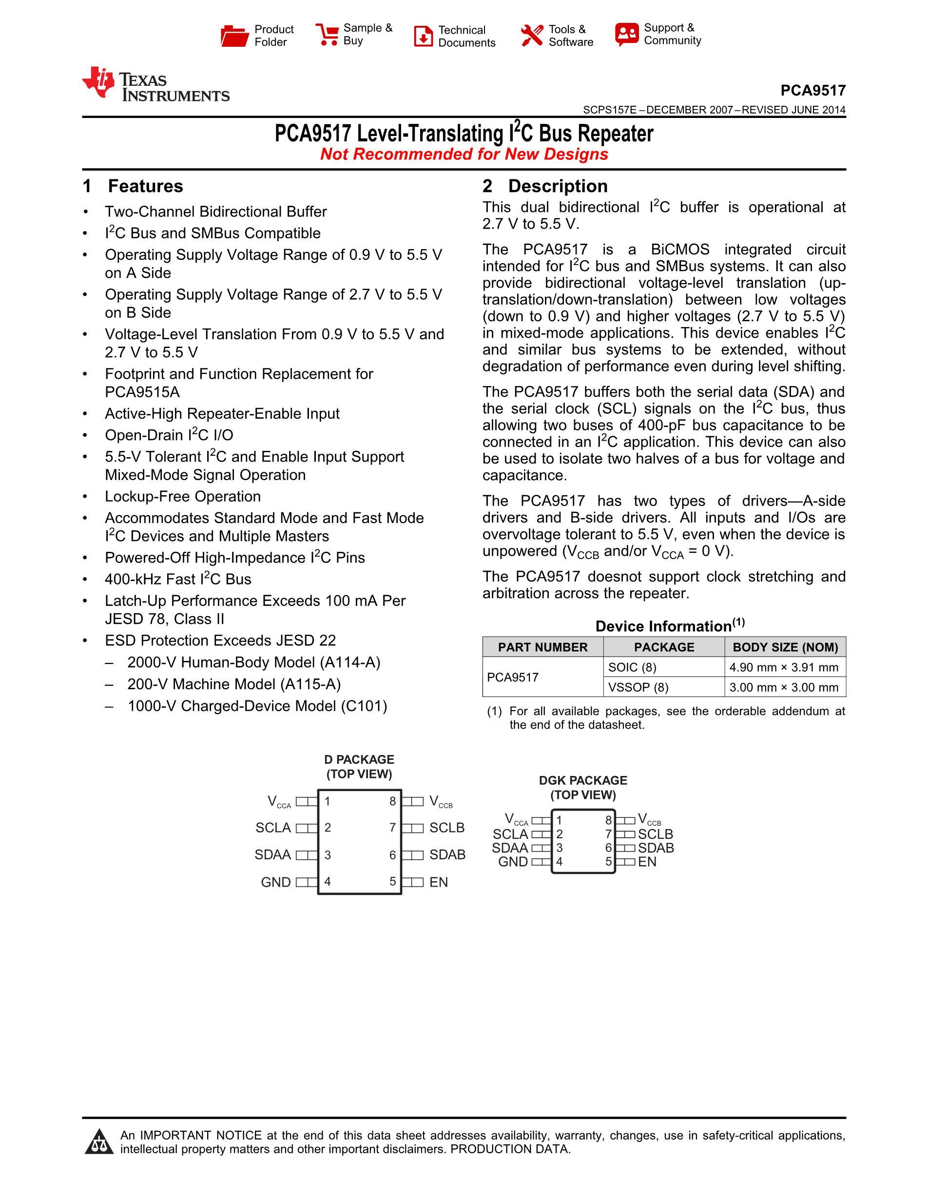 PCA9517DGKR's pdf picture 1