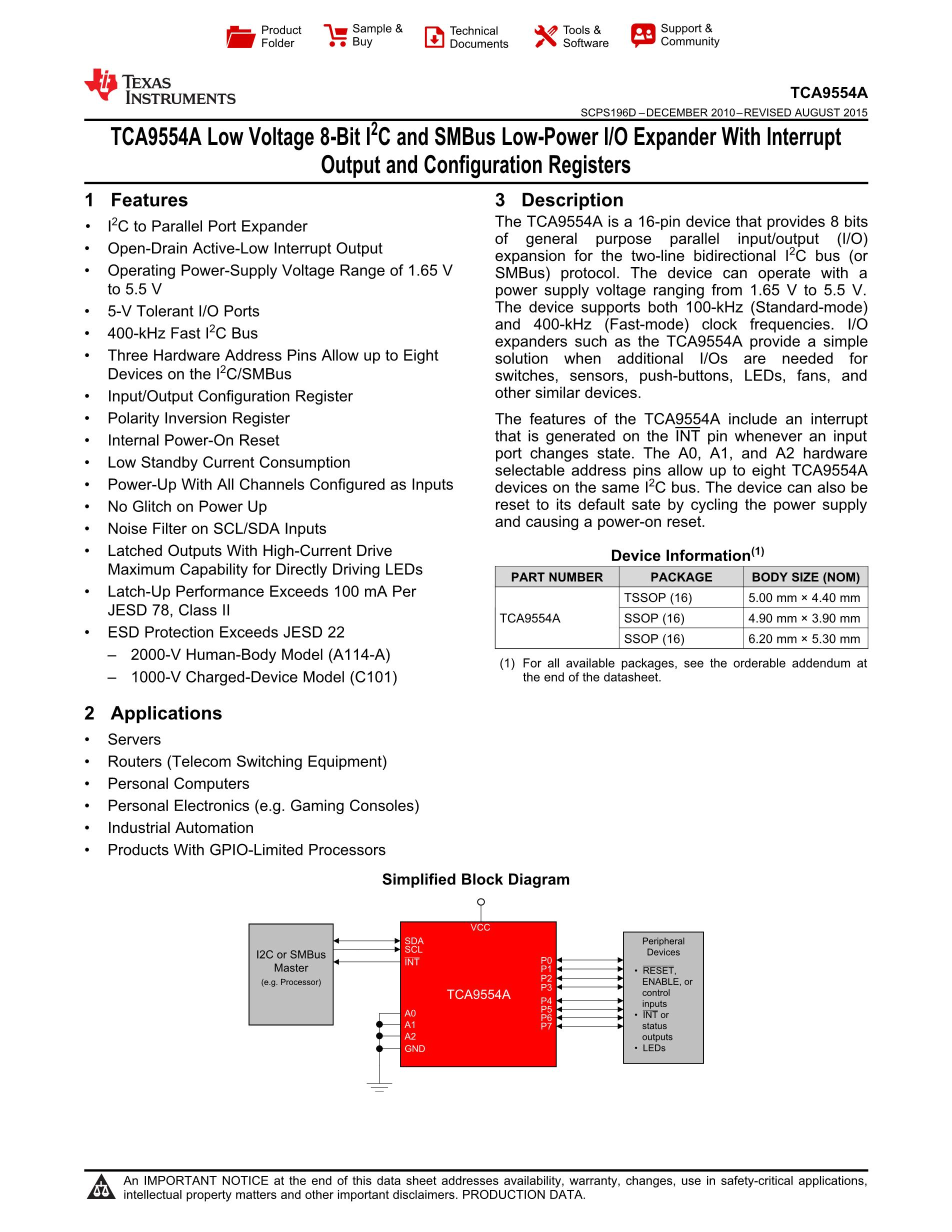 TCA9554APWR's pdf picture 1