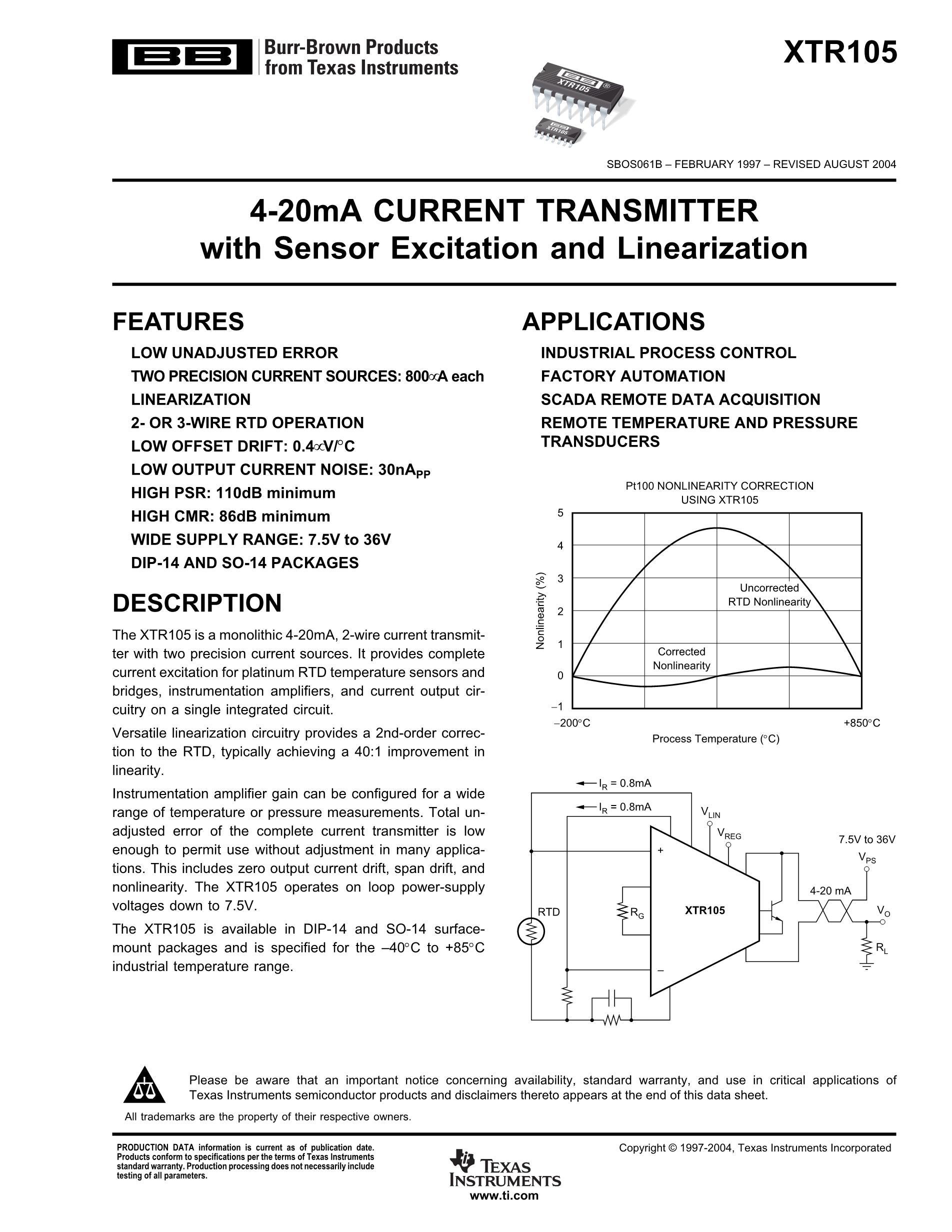 XTR108EA/2K5's pdf picture 1