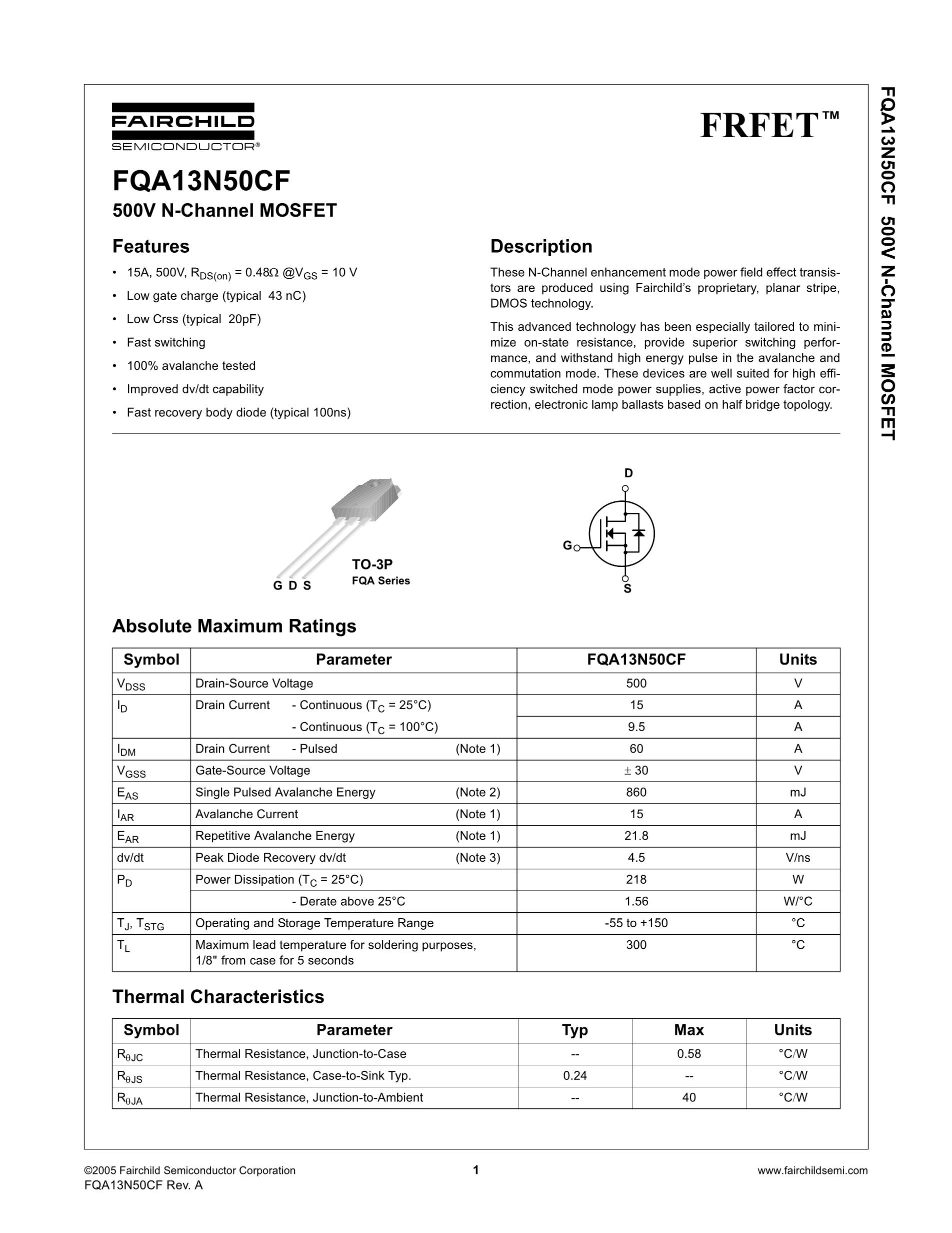 FQA13N50CF's pdf picture 1
