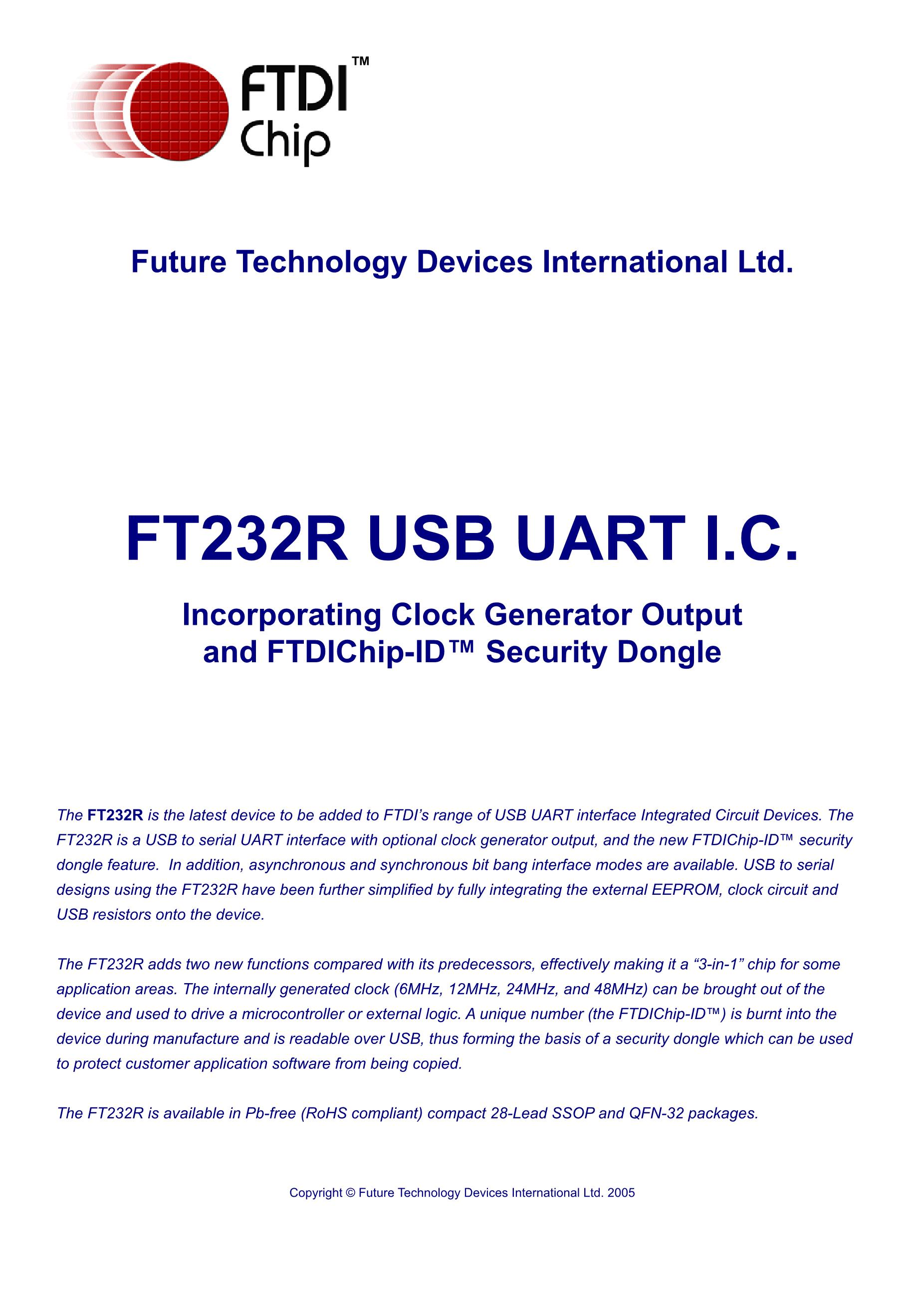 FT232RL SSOP28 FTDI's pdf picture 1