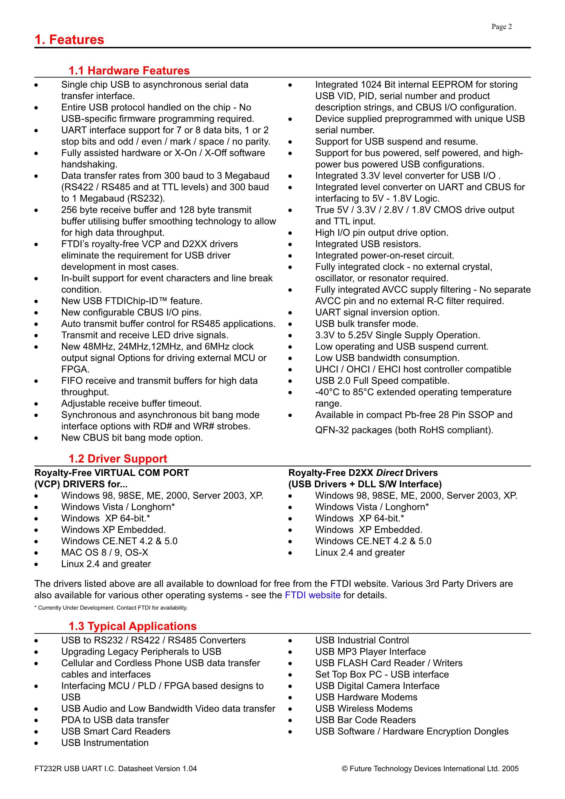 FT232RL SSOP28 FTDI's pdf picture 2