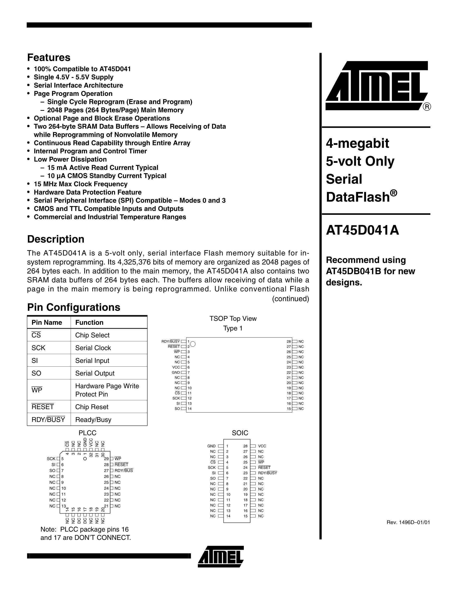 AT45DB321D-MU-2.5-SL383's pdf picture 1