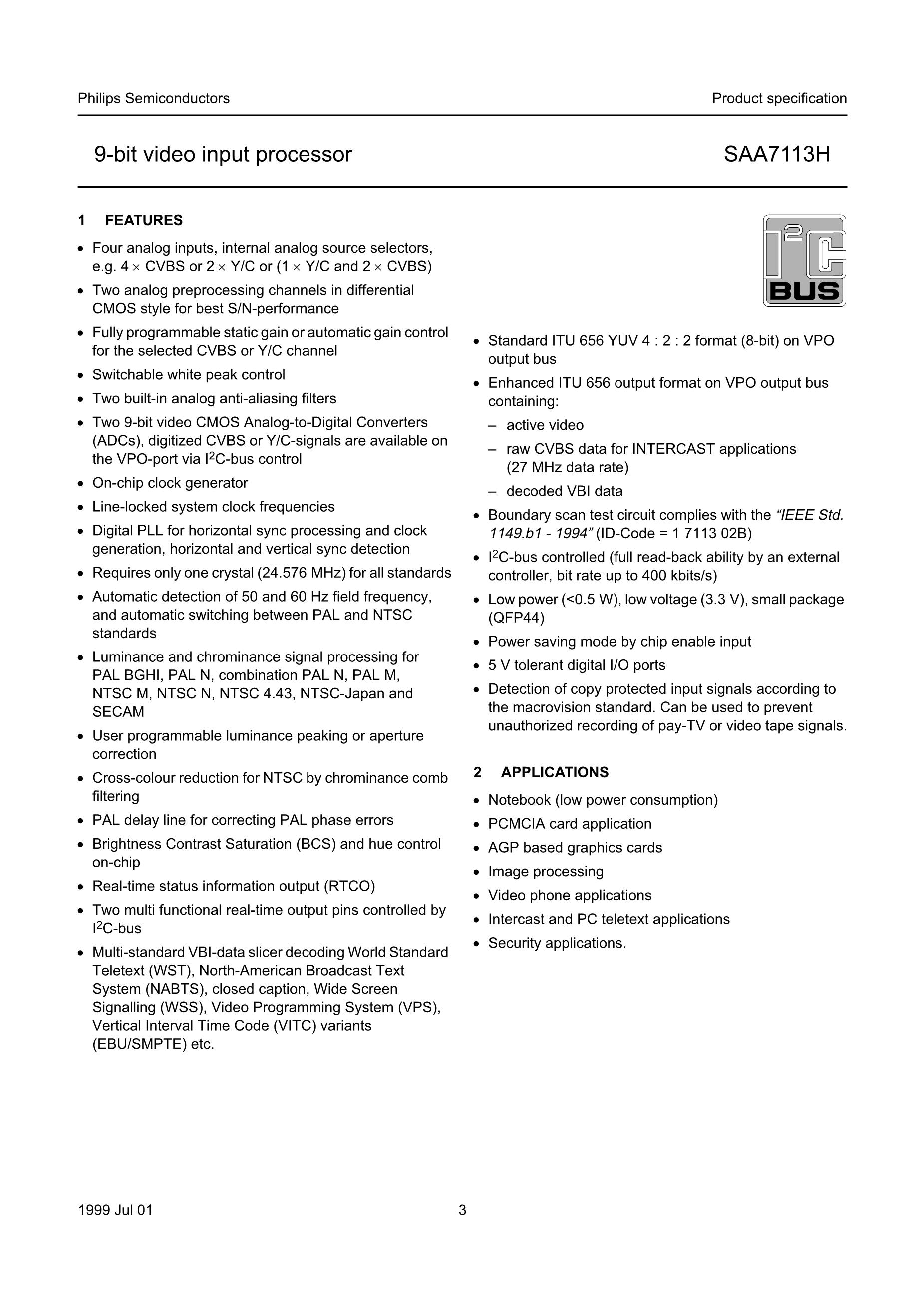 SAA7103H/V4,518's pdf picture 3