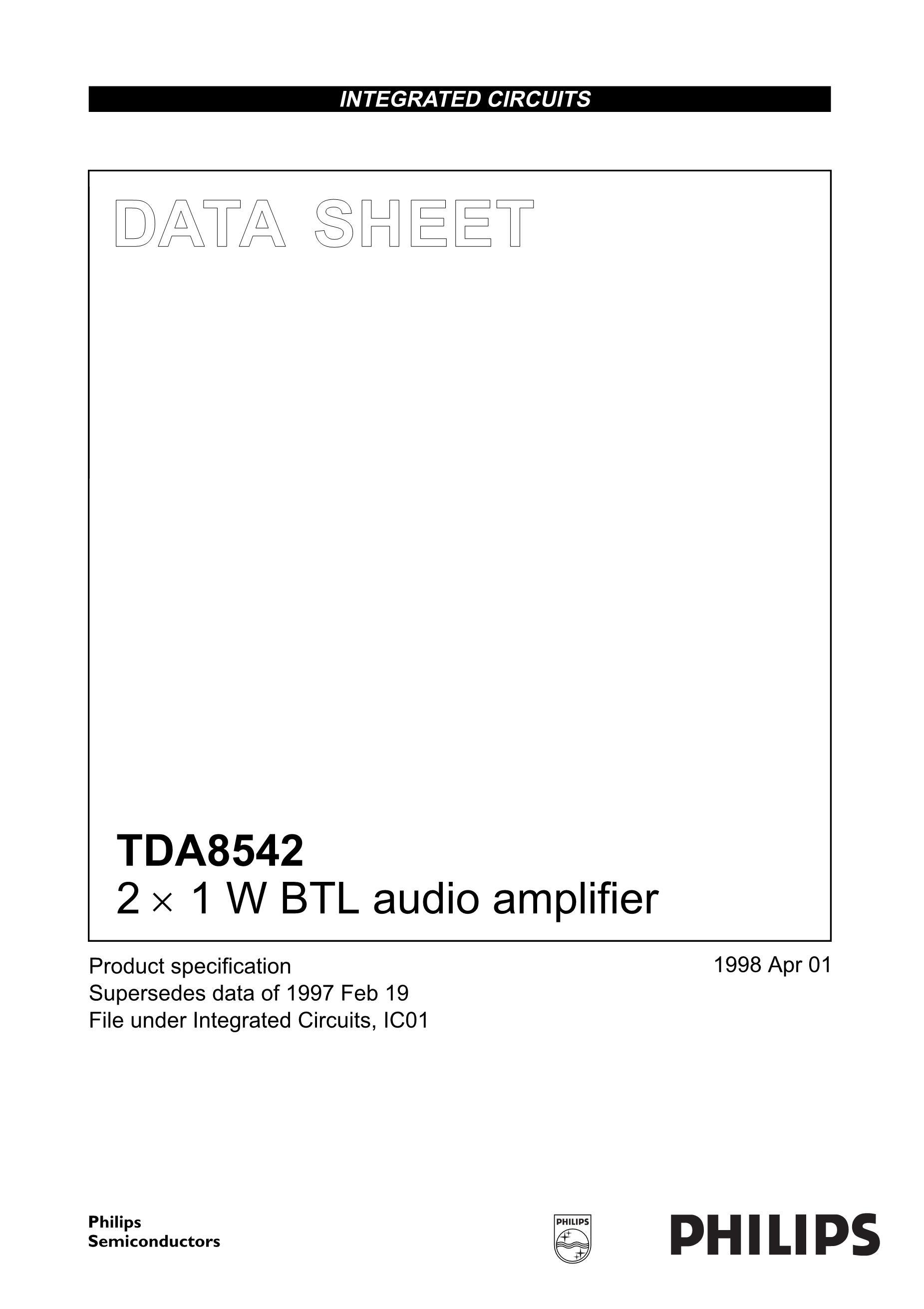 TDA8501/N1,112's pdf picture 1