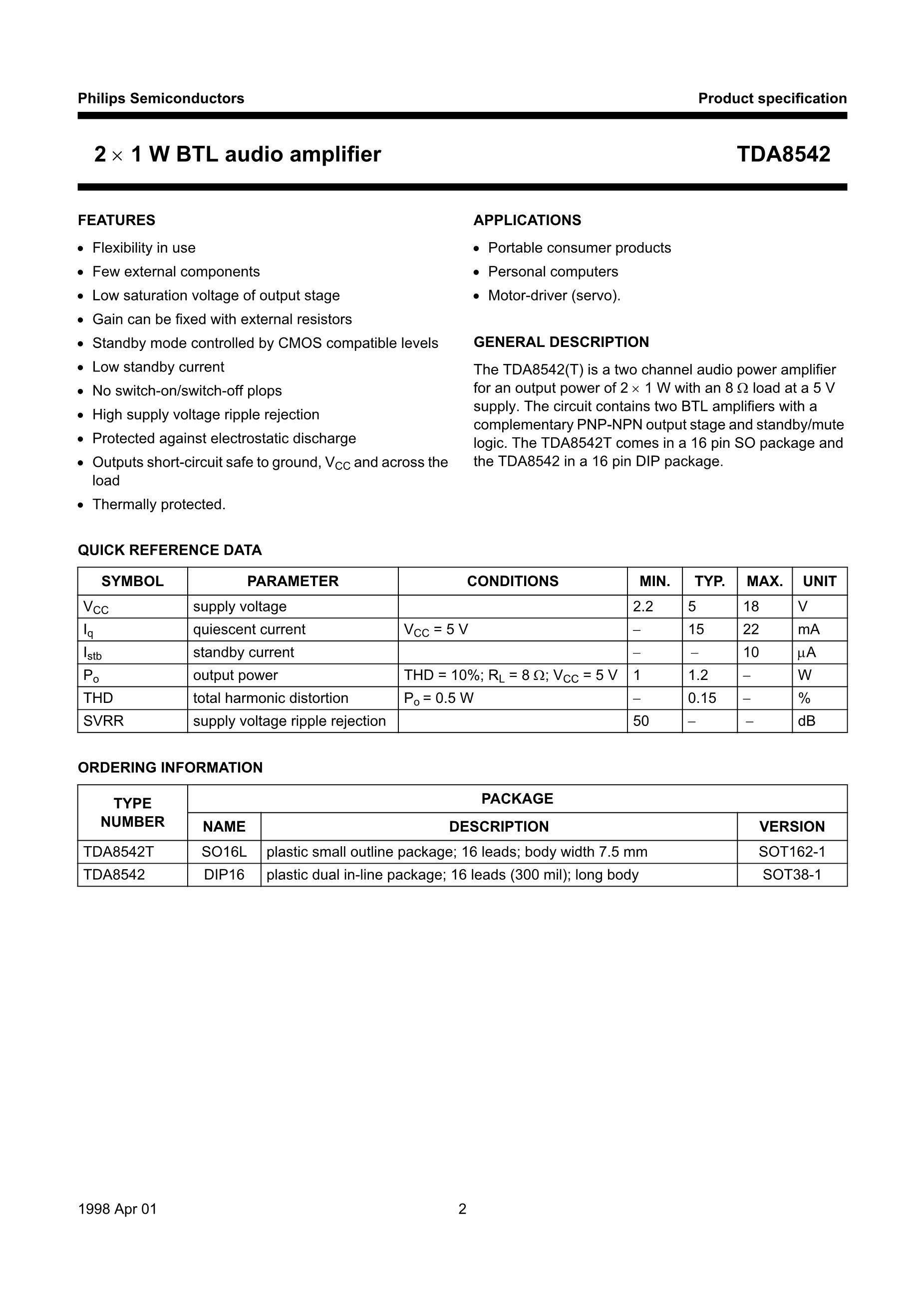 TDA8501/N1,112's pdf picture 2