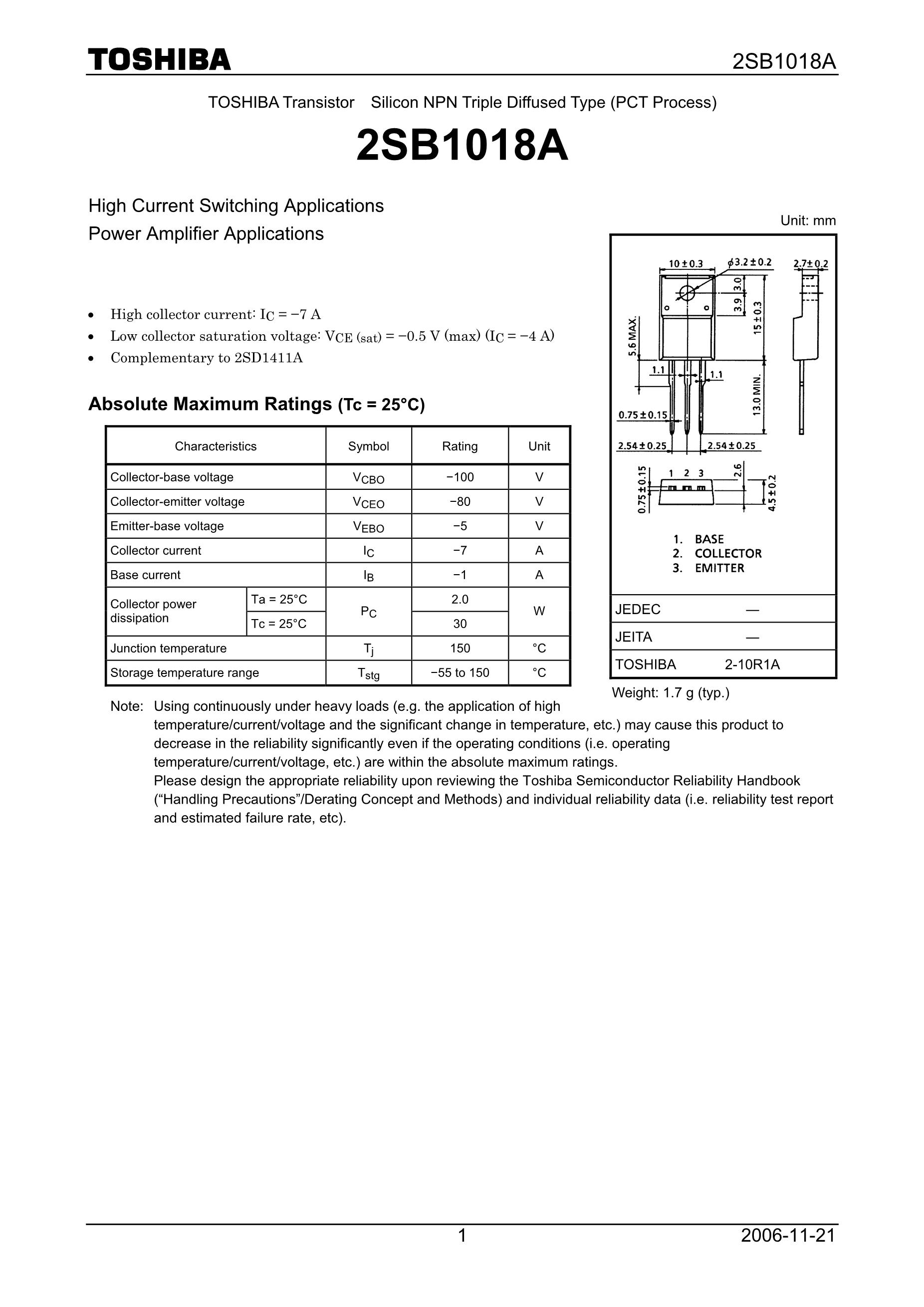 2SB1260/BE's pdf picture 1
